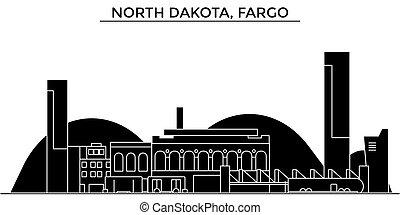 Usa, North Dakota, Fargo architecture vector city skyline, travel cityscape with landmarks, buildings, isolated sights on background