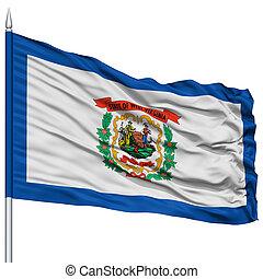 usa, nyugat, lobogó, elszigetelt, állam, zászlórúd, virginia