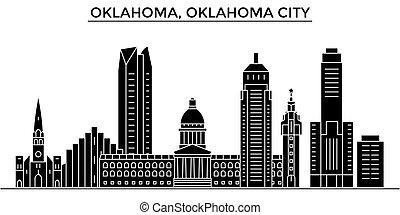 Usa, Oklahoma, Oklahoma City architecture vector city skyline, travel cityscape with landmarks, buildings, isolated sights on background