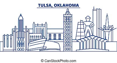 USA, Oklahoma, Tulsa winter city skyline. Merry Christmas and Happy New Year decorated banner. Winter greeting card with snow and Santa Claus. Flat, line vector. Linear christmas illustration