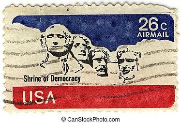 USA old stamp with the Shrine of Democracy