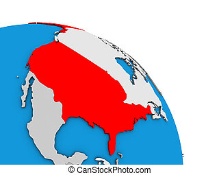 USA on 3D globe