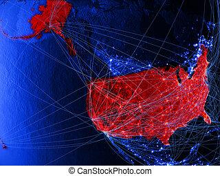 USA on blue blue digital map