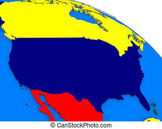 USA on colorful 3D globe