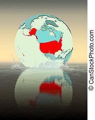 USA on globe splashing in water