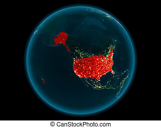 USA on planet Earth in space at night