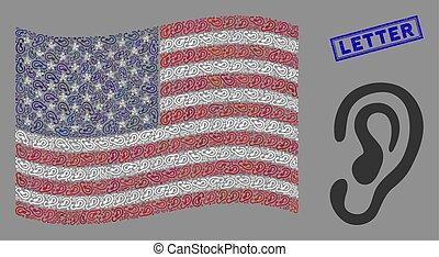 usa, oreille, lettre, cachet, drapeau, gratté, mosaïque
