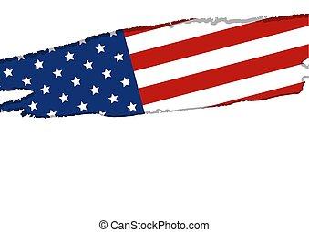 usa, ou, amérique, drapeau, isolé, blanc, fond, vecteur, illustration