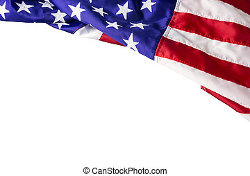 usa, ou, drapeau américain, isolé, blanc, fond, à, attachant...