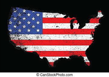 USA Outline and Flag