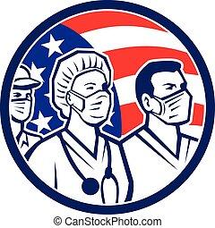 usa, ouvrier healthcare, américain, héros, icône, drapeau