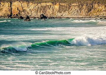 USA Pacific coast, Sand Dollar Beach, Big Sur, California -...