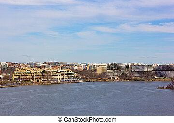 usa., panorama, washington dc, front mer, rivière potomac