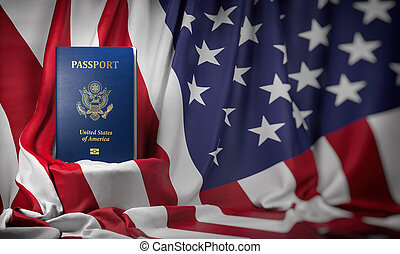USA passport on the flag of the US United Stetes. Getting a USA passport, naturalization and immigration concept.