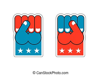 USA Patriot fist emblem. Sign of strong America. Logo for armed forces. Illustration for Patriot Day. American hand