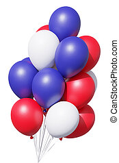 USA patriotic balloons in traditional colors on white background