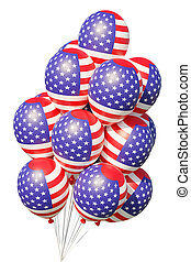 USA patriotic balloons painted with American flag with ribbons.