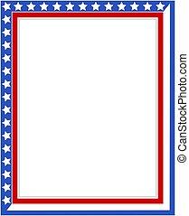 USA Patriotic border frame strip and star.