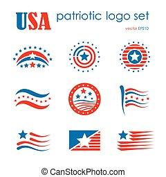 USA patriotic emblem logo icon set