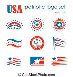 USA patriotic emblem logo icon set