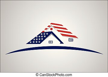 USA Patriotic house real estate logo