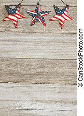 USA patriotic old flag on a stars and weathered wood background