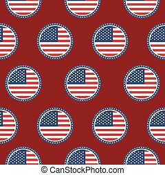 USA patriotic seamless pattern. American flag in stamp