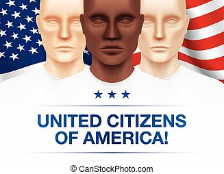 Patriotic vector illustration. Black, White and Asian men standing together on a waving USA national flag background. Unity and equality flyer design.