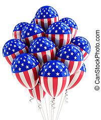 usa, patriotisch, luftballone