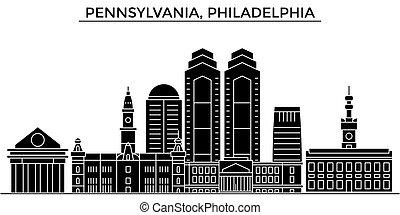 Usa, Pennsylvania, Philadelphia architecture vector city skyline, travel cityscape with landmarks, buildings, isolated sights on background