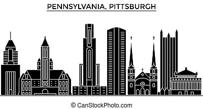Usa, Pennsylvania  Pittsburgh architecture vector city skyline, travel cityscape with landmarks, buildings, isolated sights on background