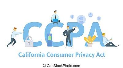 usa, personnel, données, vecteur, consommateur, ccpa, protection., californie, intimité, style., plat, illustration, concept, act., sécurité
