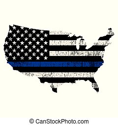 USA Police Support Thin Blue Line Illustration