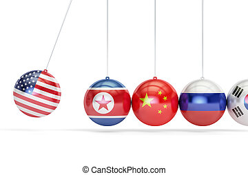 USA political conflict with North Korea, South Korea, Russia and China concept. 3D rendering
