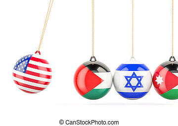 USA political conflict with Palestine, Israel and Jordan concept. 3D rendering