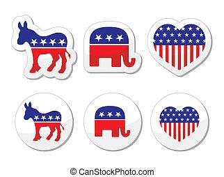 USA political parties symbols