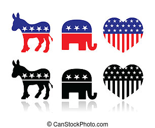 American politics - democratic donkey and repubilcan elephant symbols isolated on white