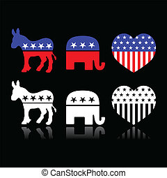 USA political parties symbols - American politics -...