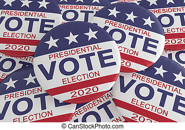 Pile of 2020 Presidential Election Vote Buttons With US Flag, 3d illustration