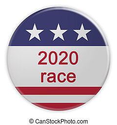 2020 Race Button With US Flag, 3d illustration Isolated On White Background