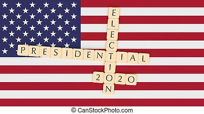 Letter Tiles Presidential Election 2020 With US Flag, 3d illustration