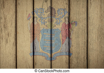 US State New Jersey Flag Wooden Fence