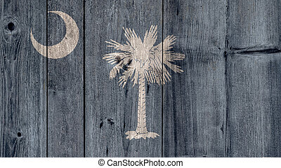 US State South Carolina Flag Wooden Fence