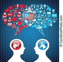 usa, politikai, választások, társadalmi, vita