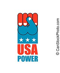 USA power. Patriot fist emblem. Sign of strong America. Logo for armed forces. Illustration for Patriot Day. American hand