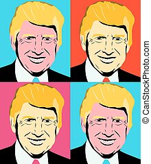 November 10 2017 set of illustrations of the USA President Donald Trump in Andy Warhol style.