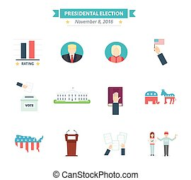 USA presidental election Icons set. Vote concept symbols in flat style.