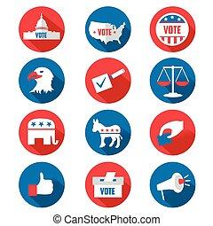 A vector USA presidential election icon sets