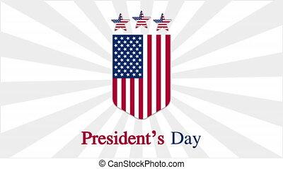 USA Presidents Day Badge, art video illustration.