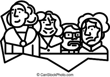 usa presidents, mount rushmore vector line icon, sign, illustration on background, editable strokes